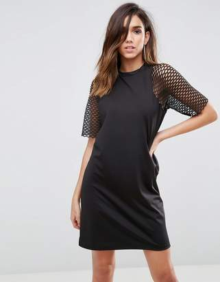 Asos Design Scuba T-Shirt Dress With Fishnet Sleeves