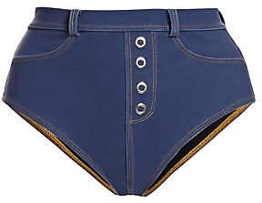 Jonathan Simkhai Women's Eash Denim High-Waisted Bikini Bottom