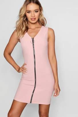 boohoo Zip O Ring Detail Mini Dress