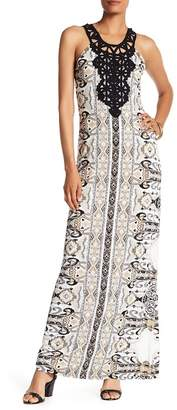 Hale Bob Halter Print Embroidered Woven Maxi Dress