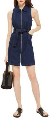 Topshop Belted Zip-Up Denim Dress