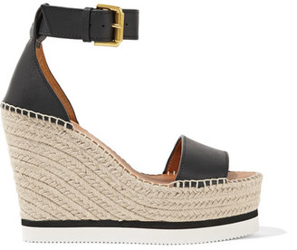 See by Chloé - Leather Espadrille Wedge Sandals - Black $215 thestylecure.com