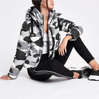 River Island Grey camo layer hooded puffer jacket