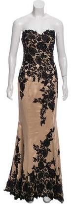 Mac Duggal Strapless Embroidered Gown w/ Tags