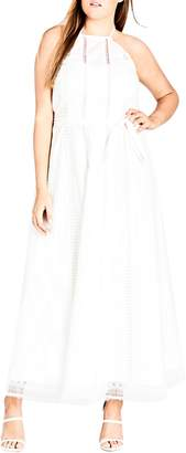 City Chic Lace Trim Swiss Dot Halter Maxi Dress