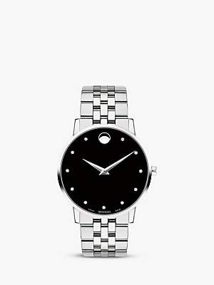 Movado 0607201 Women's Museum Classic Diamond Bracelet Strap Watch, Silver/Black
