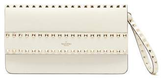Valentino Rockstud Leather Clutch - Womens - Ivory