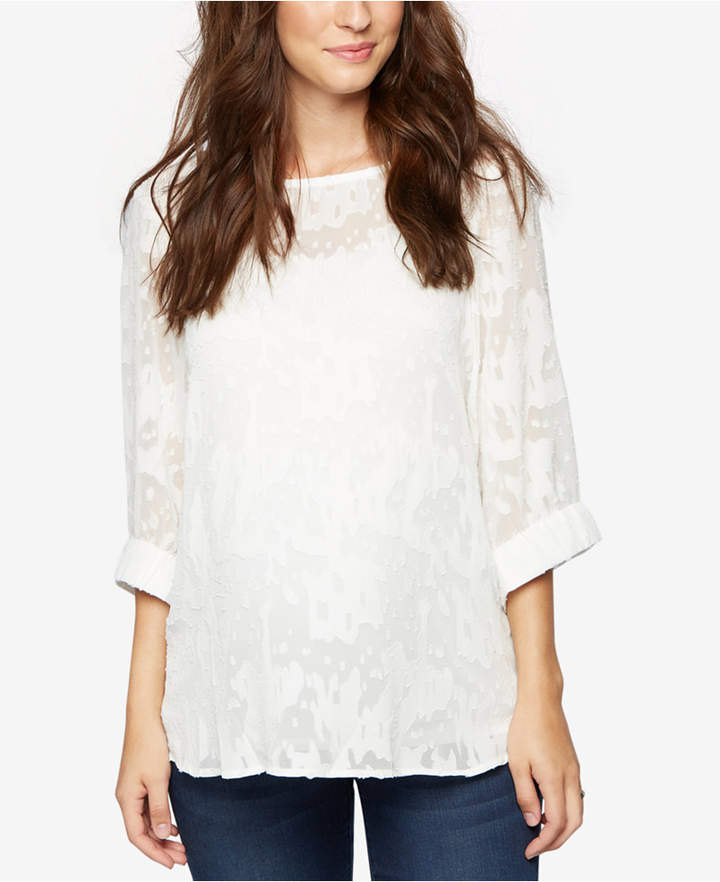 A Pea In The Pod A Pea In The Pod Maternity Three-Quarter-Sleeve Blouse