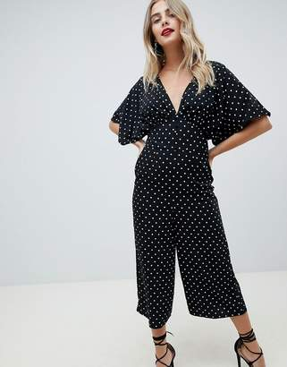 37f5285f3ef9 Asos Design DESIGN Tea Jumpsuit With Kimono Sleeve And Button Detail in  spot print