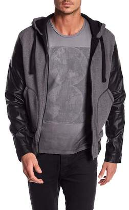 Rogue Faux Leather Sleeved Hooded Jacket
