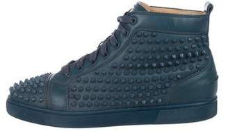 cbc9cd19d4a Christian Louboutin Louis Flat Spike Leather Sneakers