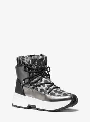 MICHAEL Michael Kors Cassia Cheetah-Print Nylon and Mirror-Metallic Boot