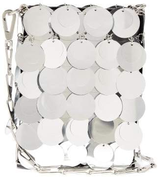 Paco Rabanne Sparkle Mini 1969 Embellished Faux Leather Bag - Womens - Silver