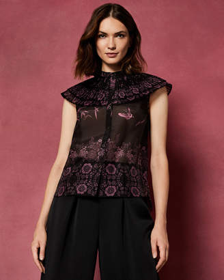 Ted Baker BRIELA The Orient ruffle high neck top