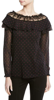Fuzzi Novelty Dot Lace-Trim Ruffle Top