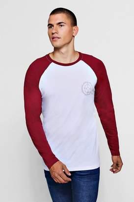 boohoo Long Sleeved Printed Raglan T-Shirt