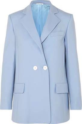 Oscar de la Renta Double-breasted Wool-blend Twill Blazer - Blue