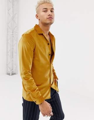 Asos Design DESIGN regular fit revere velour shirt mustard