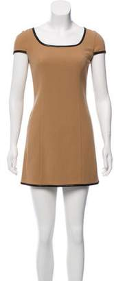 Rachel Zoe Leather-Trimmed Wool Dress w/ Tags