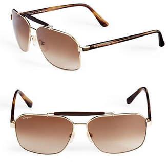 Salvatore Ferragamo SF107S Square Aviator Sunglasses