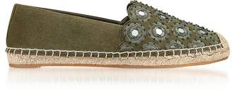 Tory Burch Yasmin Olive Green Suede Embellished Flat Espadrilles