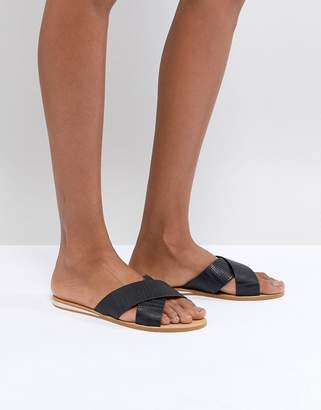 London Rebel Metal Heel Flat Sandal