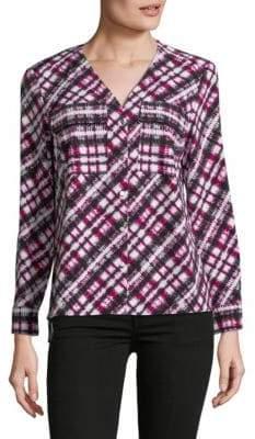 Jones New York V-Neck Button-Down Shirt