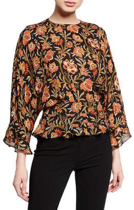 b030abbce96afc Derek Lam Short-Sleeve Indian Floral Print Ruffled Blouse