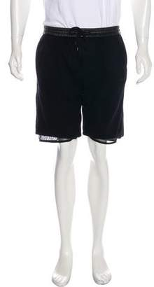 Alexander Wang Leather-Trimmed Wool Jogger Shorts