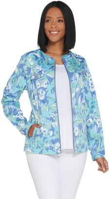 Denim & Co. Watercolor Print Stretch Twill Zip Front Jacket