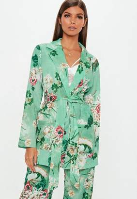 Missguided Green Floral Collared Tie Jacket, Green
