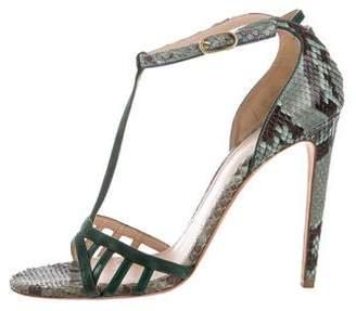 Chloé Gosselin Snakeskin T-Strap Sandals