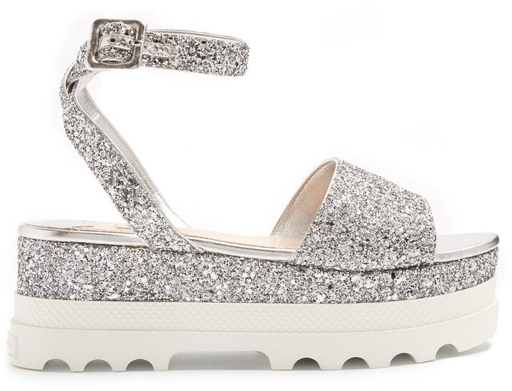 MIU MIU Bi-colour glitter flatform sandals