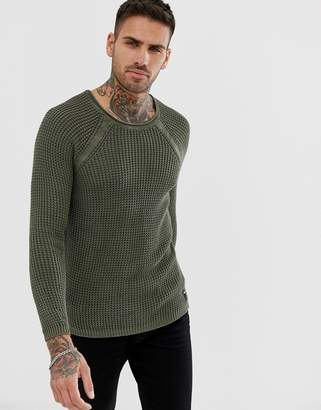Replay muscle fit mesh sweater in olive