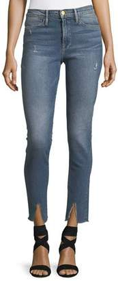 FRAME Le High Split-Hem Skinny-Leg Jeans $239 thestylecure.com