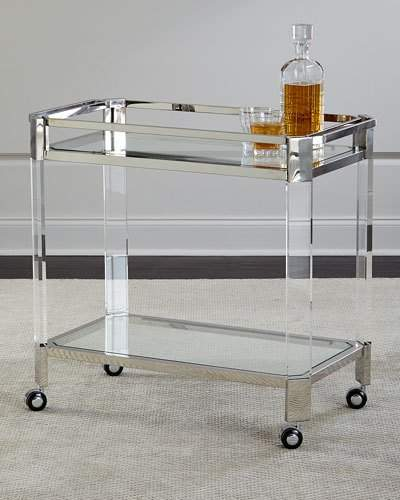 Metal and clear glass bar cart