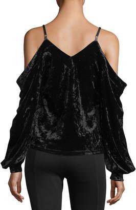 Romeo & Juliet Couture Cold-Shoulder Crushed Velvet Blouse