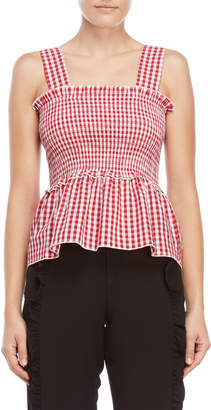 Norr Liz Gingham Smocked Top