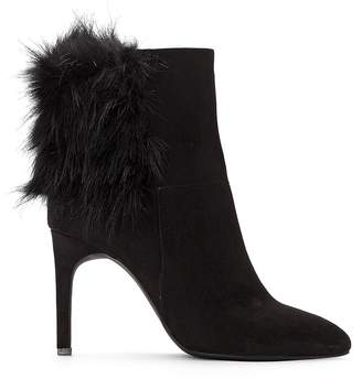La Redoute Collections High Heeled Ankle Boots with Faux Fur Detail