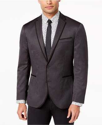 Kenneth Cole Reaction Men's Slim-Fit Stretch Silver/Black Mini-Grid Dinner Jacket, Online Only