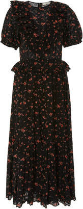 Ulla Johnson Bettine Floral Embroidered Broderie Anglaise Midi Dress