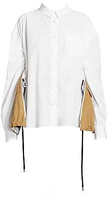 Sacai Women's Button-Down Cotton Trench Shirt