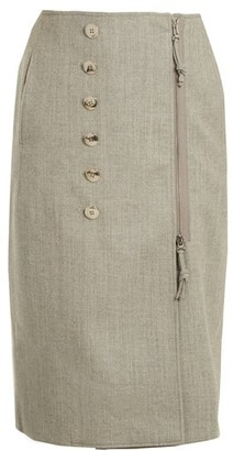 Altuzarra Sorrel Button Embellished Wool Blend Pencil Skirt - Womens - Light Grey
