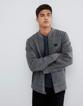 Abercrombie & Fitch Bonded Baseball Sweat Bomber in Gray