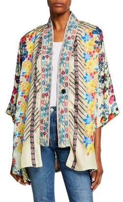 Johnny Was Bonian Floral-Print One-Button Silk Twill Kimono w/ Embroidered Trim