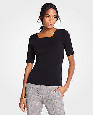 Ann Taylor Square Neck Luxe Tee