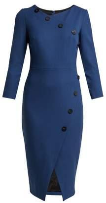 Cefinn - Buttoned Ponte Pencil Dress - Womens - Blue