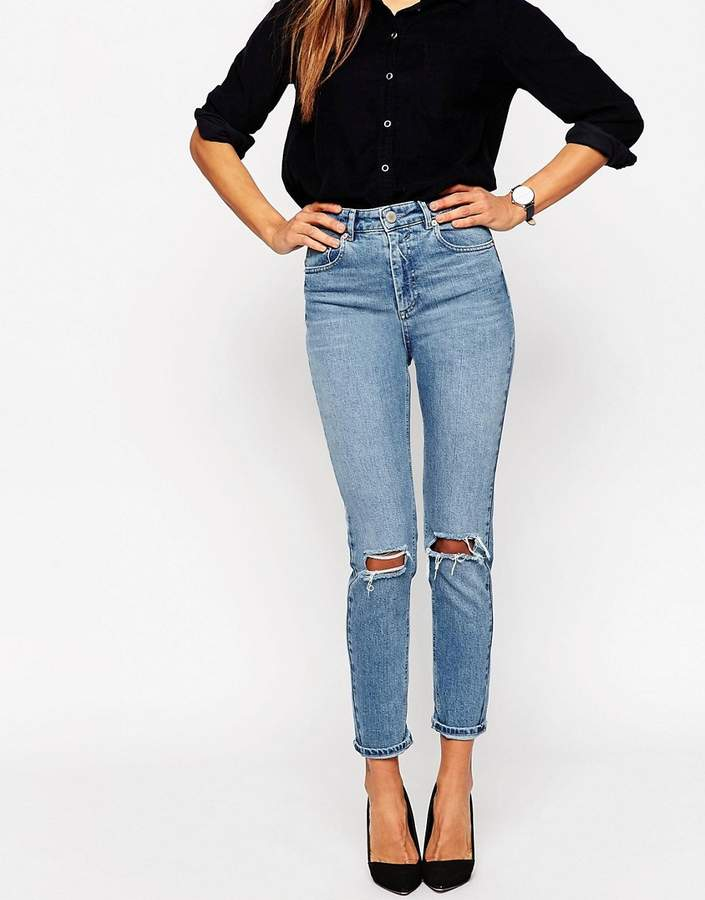 ASOS DESIGN Farleigh high waist slim mom jeans in prince wash with busted knees