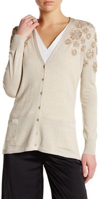Oscar de la Renta V-Neck Long Sleeve Floral Sequin Embellished Cardigan $2,690 thestylecure.com