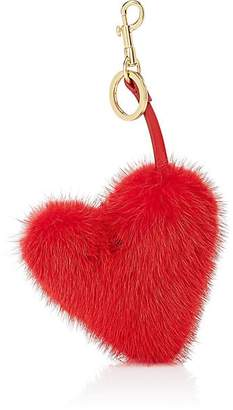 Anya Hindmarch Women's Heart-Shaped Mink Fur Bag Charm - Red